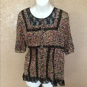 Gorgeous Black Lace Ruffle Detail Shirt L